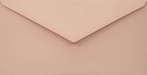 100 blassrosa DIN lang Recycling-Umschläge, 110x220 mm, 110g, Woodstock Cipria, Spitzklappe, ohne Fenster, Öko Vintage Kuverts, ideal für Hochzeit, Geburtstag, Weihnachten, Einladungen, Grußkarten