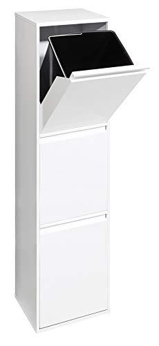 Arregui Basic CR301-B Cubo de Basura y Reciclaje de Acero de 3 compartimentos, Blanco, 133.5 x 30.5 x 24.5