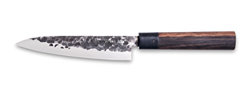3 Claveles - Cuchillo de Cocina oriental, Mango de madera, Acero Inoxidable, línea Osaka - (16cm - 6,5