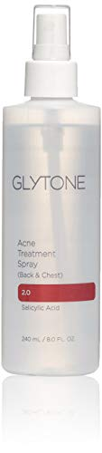 Glytone Acne Treatment Spray Back & Chest with 2% Salicylic Acid, Quick Drying, Upside Down Pump, Non-Comedogenic, Fragrance-Free, 8 oz.
