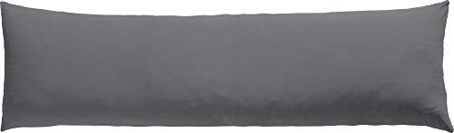 REDBEST Seitenschläferkissenbezug Single- Jersey San Francisco grau Größe 40x140 cm- weiche Qualität, bügelfrei, praktischer Reißverschluss, 100% Baumwolle (weitere Farben)