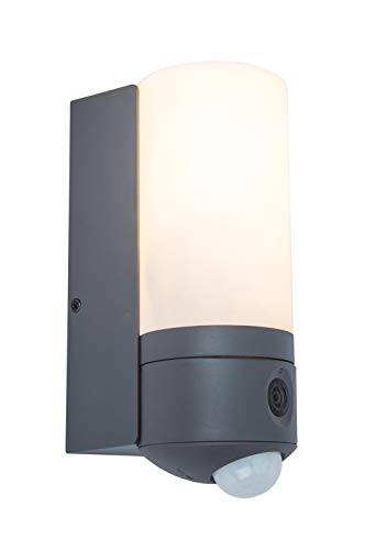 Eco-Light LED Wandleuchte Pollux mit Kamera in LED Technik. 20 Watt Lichtleistung. Einfache Montage an Ihrer Hauswand oder dem Gartenhaus. 1200 Lumen A++, 3000 Kelvin, IP54, Dimmbar, Bewegungsmelder.