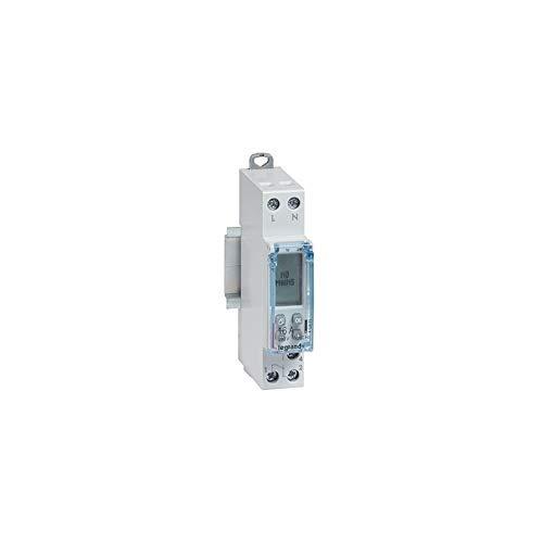 Legrand 412681 Interrupteur horaire modulaire programmable journalier et hebdomadaire standard 230V, 1 sortie, 16A, 1 module