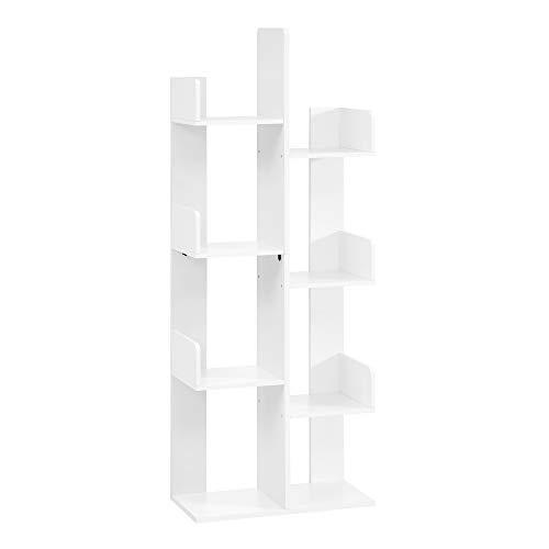 VASAGLE Librería en Forma de árbol, Estantería con 8 Compartimentos, Armario de Almacenamiento, 50 x 25 x 140 cm, con Esquinas y Bordes Redondeados, Blanco LBC066W01