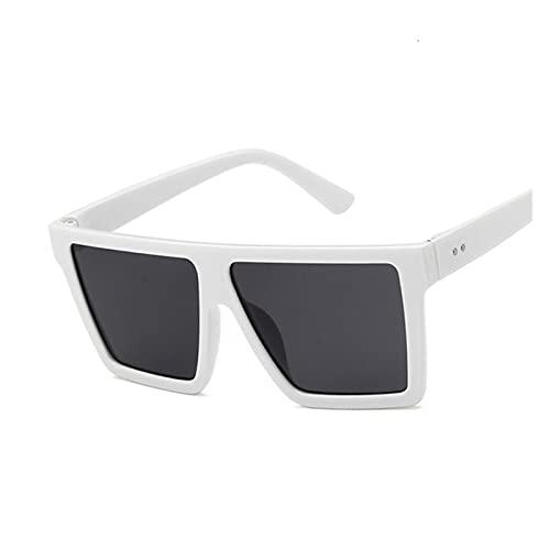 RHoet Gafas de Sol cuadradas de Gran tamaño Marca de Lujo Leopardo Negro Marco Grande Gafas de Sol Mujeres Sombras COULOS Gafas de Sol para Mujer (Lenses Color : White Gray)