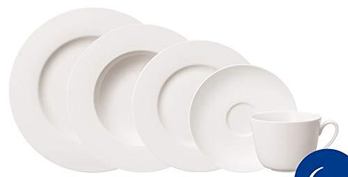 Villeroy & Boch - Juego de vajilla Twist White para hasta 6 personas de 30 piezas, vajilla de café grande de porcelana premium, blanca, apta para lavavajillas
