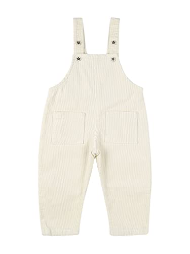 Kaerm Baby Boys Girls Overalls Solid Color Knitting Romper High Waisted Pants One Piece Bodysuit with Pockets White 18-24 Months