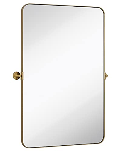 Hamilton Hills Gold Metal Surrounded Round Pivot Mirror | Silver Backed Adjustable Moving & Tilting Wall Mirror Adjustable 24