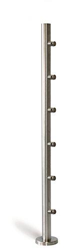 Geländerpfosten V2A Edelstahl inkl. 6x Traversenhalter 12mm Ø42,4x2 mm H=880 mm