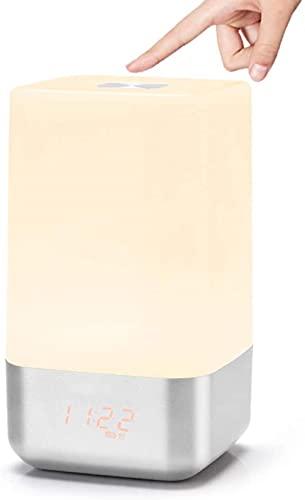 JeeKoudy Despertador con luz para Despertar, lámpara de mesilla de Noche con simulación de Amanecer con 5 Sonidos Naturales