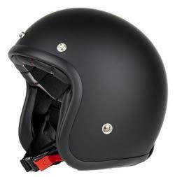 Iguana Custom Collection Motorrad Jet Helm Pendejo mattschwarzer Vintage-Stil, perfekt für Custom, Cafe Racer, Bobber und Chopper