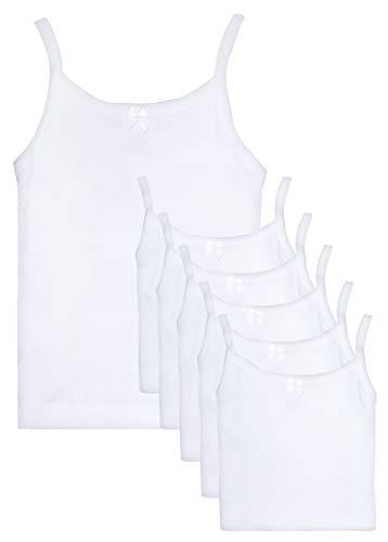 Rene Rofe Girl Undershirt Camisole Tank Tops, White, Toddler (3T) (Pack Of 6)'