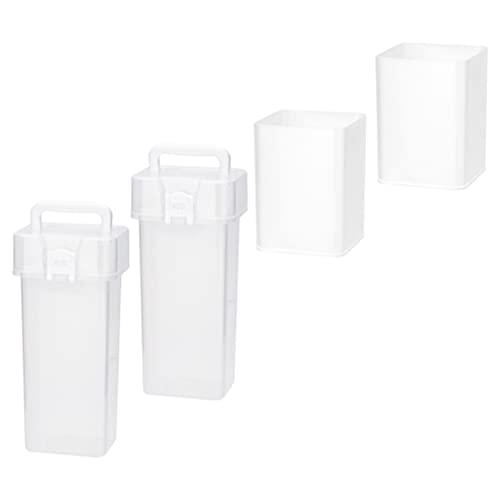 TomaiBaby Portalápices de Plástico de 4 Piezas con Tapas Organizador de Lápices de Escritorio Caja de Almacenamiento Contenedor de Papelería para Portalápices de Oficina de Escritorio