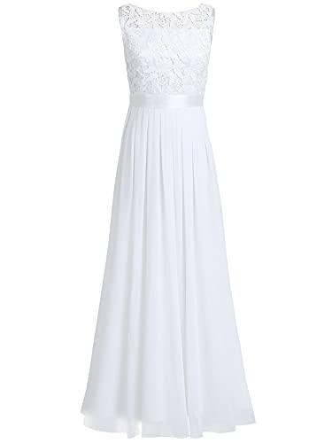iEFiEL iEFiEL Damen Kleid Festliche Kleider Brautjungfer Hochzeit Cocktailkleid Chiffon Faltenrock Elegant Langes Abendkleid Partykleid Weiß 36