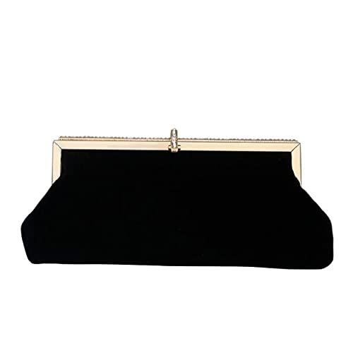 Fashion Handbag,Retro Black Velvet Evening Clutch Bag Rhinestone Party Handbag Purse with Chain