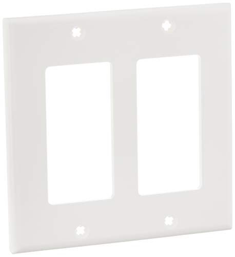 Leviton 80409-NW 2-Gang GFCI Device Decora Wallplate, Standard Size, White, 1 Pack