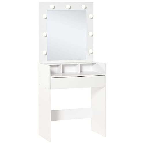homcom Toletta da Camera con Specchio e 9 Luci LED, Tavolo Trucco con Cassetto e Vani Aperti 70x40x160cm, Bianco