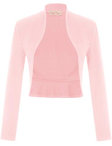 Belle Poque Women's Pink Shrug Vintage Cropped Shrug Open Front Long Sleeve Ruffled Bolero Cardigan (Pink,M)