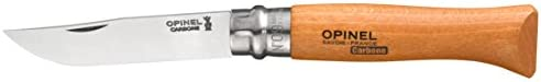 Opinel No.08 Carbon Steel Folding Pocket Knife with Beechwood Handle, Brown (2540089)