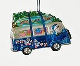 Glass Retro Blue VW Bus with Christmas Tree on Top Christmas Tree Ornament