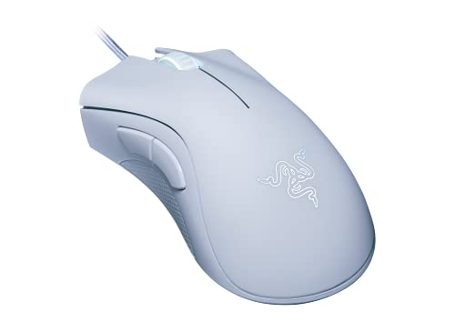 Razer DeathAdder Essential Gaming Mouse: 6400 DPI Optical Sensor - 5 Programmable Buttons - Mechanical Switches - Rubber Side Grips - Mercury White