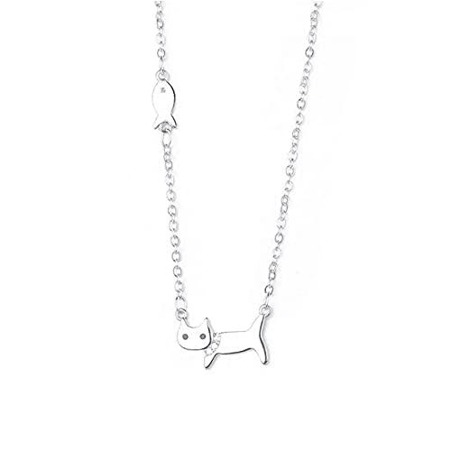 N/A Mujer Collares Colgantes Joyas Regalos Collar de clavícula de pez Gato Lindo de Moda Simple para Collar de Mujer Collares