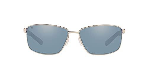 Costa Del Mar Men s Ponce Rectangular Sunglasses, Shiny Silver Grey Silver Mirrored Polarized 580P, 63 mm
