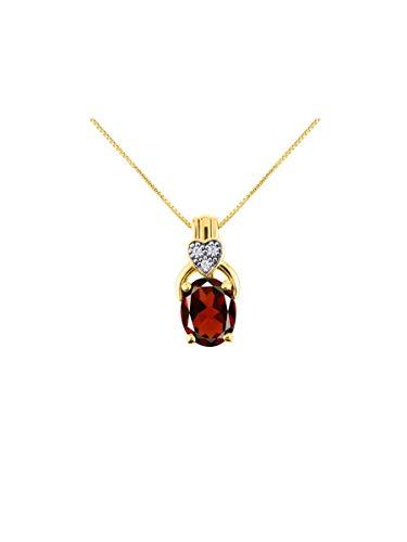RYLOS Impresionante collar con colgante de diseño clásico con piedra de forma ovalada y diamantes brillantes genuinos en plata de ley 925 – 9 x 7 mm, piedra de color con cadena de 45,72 cm