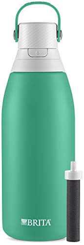 Brita Stainless Steel Water Filter Bottle, Jade, 32 Ounce, 1 Count