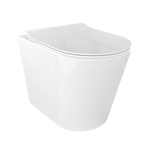Sanitari bagno Vaso WC filomuro a terra rimless con coprivaso sedile softclose Round
