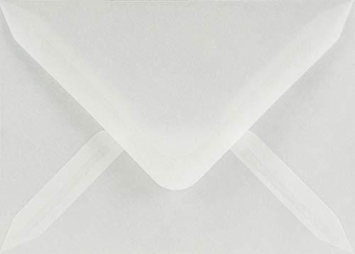 25 weiß - transparente Briefumschläge DIN B6 125x175 mm Spitzklappe 110g Golden Star Umschläge transparent für Einladungs-Karten Hochzeits-Karten Grußkarten