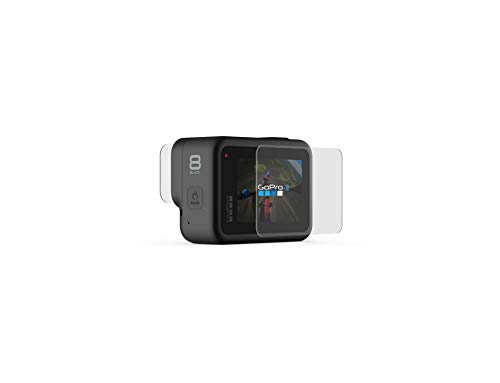 Gopro tempered glass lens + screen protectors (hero8 black) - official gopro accessory 3 protect from scratches with 2 tempered glass lens protectors and 2 tempered glass screen protectors anti-fingerprint and anti-reflective coatings preserve image quality includes a microfiber cleaning cloth