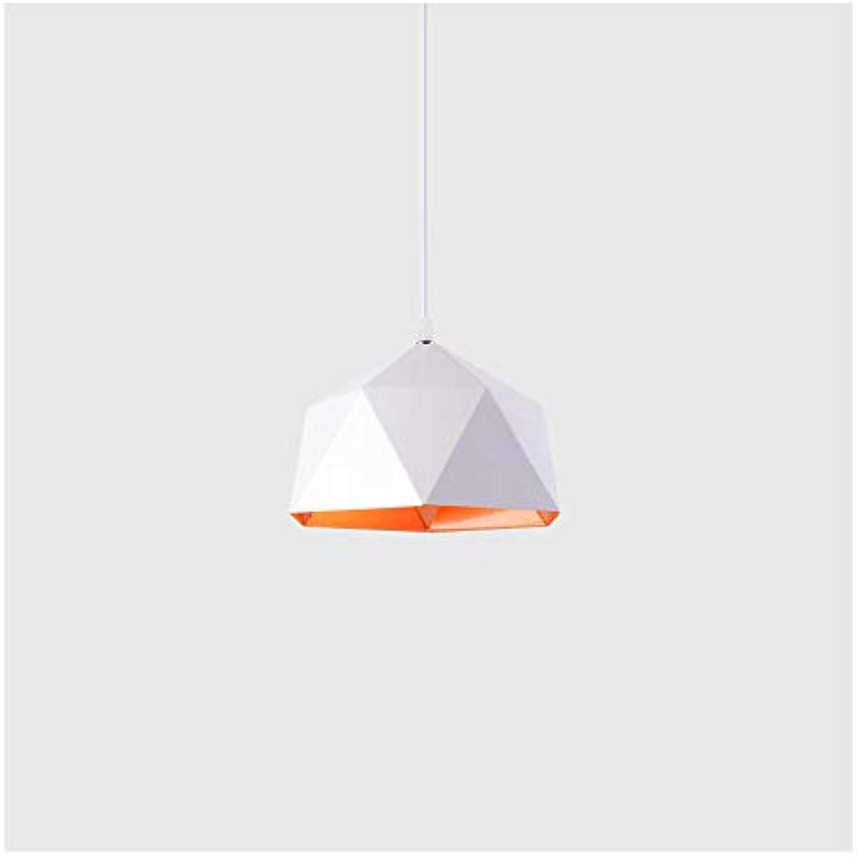 ZSSM Moderner Kreativ-Künfen-Kronleuchter Single Head Polygonform E27 Adjustable Hngedraht Einfache InsGrößetion Dekorationslampe (ohne Lichtquelle),Weiß