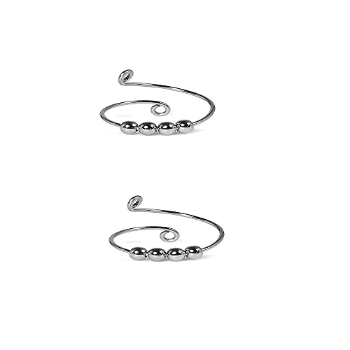 Rings Anxiety Spinning Rings for Women Worry Anxiety Beads Rings for Men,Jewelry Inspirations Anxiety Ring for Women and Lovers of Knitting Wool Boxes (2silver)