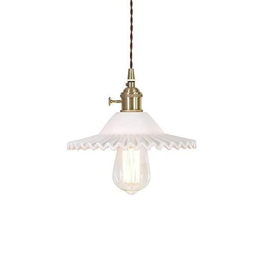 LIUDADA Lámpara colgante vintage de cristal, lámpara colgante industrial, casquillo E27, altura regulable, para hoteles, restaurantes, cafeterías, pasillos, color blanco
