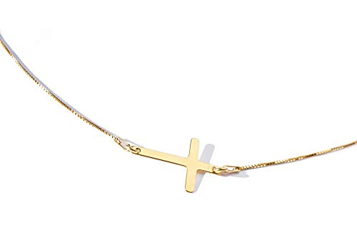 Ah! Jewellery Women's Genuine 24k Gold Over Sterling Silver Cross Necklace. Simple And Stunning Design! 1.5cm Pendant and 45cm Chain Included. Stamped 925. 10 Year Guarantee.