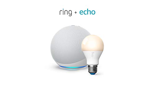 All-new Echo (4th Gen) - Glacier White - bundle with Ring A19 Smart LED Bulb