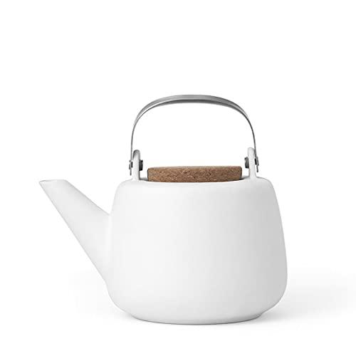 VIVA scandinavia Teekanne Porzellan Abnehmbare Sieb Weiß : tropffrei, mit edlen Griff, für Lose Tee, 1.3L