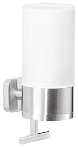 tesa ESTEETIC Seifenspender (230ml), inkl. Klebelösung, elegantes Design, Edelstahloptik, rostfrei, 192mm x 73mm x 115mm
