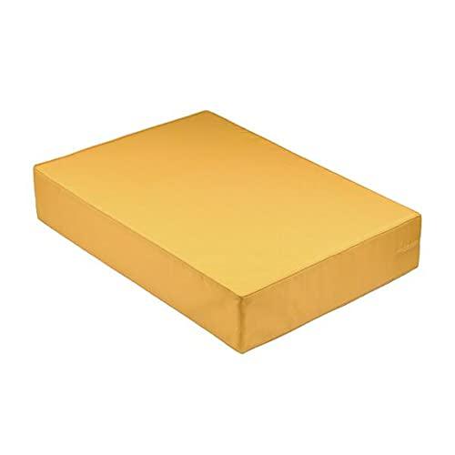Cojín / colchón exterior para paleta [EUR] de fibra comprimida, desenfundable, impermeable, amarillo, 120 x 80 x 10 cm, 100% poliéster [confort óptimo]