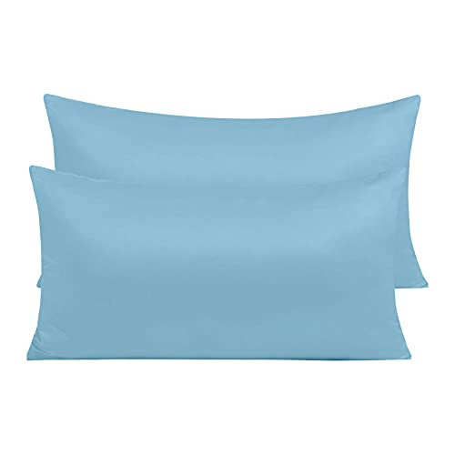 Pack 2 Fundas de Almohada de Microfibra con Cremallera Funda Almohada Transpirable Suave Antiarrugas (Azul, 45x90 cm)