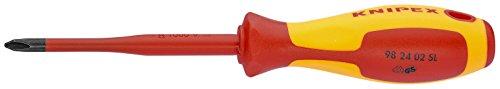 KNIPEX Schraubendreher (Slim) für Kreuzschlitzschrauben Phillips 1000V-isoliert (212 mm) 98 24 02 SL
