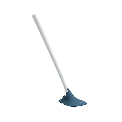 So-Mine Hygienic by Sanimaid Toilet Brush | Deep Cleaning | Prevents Dirt Buildup Under Bowl Rim | Dripless | Silicone Head | Flexible Ergonomic Handle | White with Blue