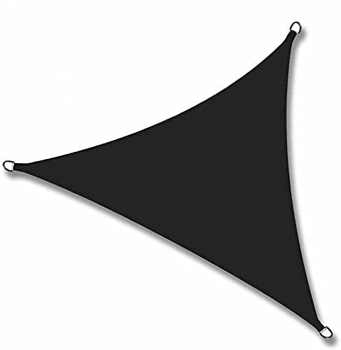 QAZW Backyard Sun Shades Velas de Sombra Triangulares para Patios Material de HDPE Impermeable Resistente Al Calor con Kit de Herrajes Toldo Al Aire Libre para Patio de Césped Patio,Black-3x3x3m