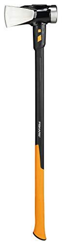 Fiskars Spaltaxt IsoCore XXL zum Spalten von Stammstücken oder zum Eintreiben von Keilen, Länge: 92 cm, Gewicht: 3,6 kg, Schwarz/Orange, 1020220