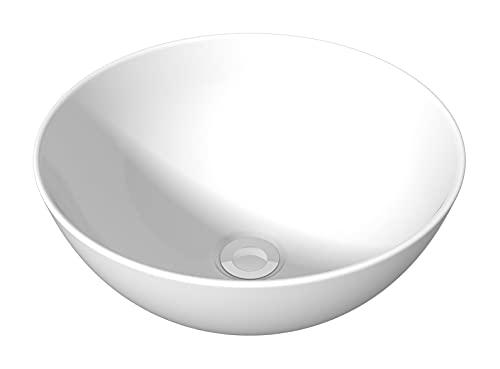 Lavabo sobre Encimera Redondo Pequeño baanio, Porcelana Blanca Ibiza de 29x29x10cm para Instalar sobre Mueble de Baño o Encimera. Lavabo Tipo Bol. Sin Rebosadero