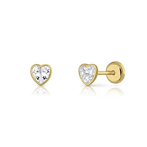 Pendientes Oro de Ley Certificado. Niña/Mujer. Corazón circón 5 mm cierre de rosca de seguridad (1-5235-5)