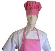 CHEFSKIN 1 Apron + 1 Adjustable Chef Hat, Soft, Live Colors, Ulltra Light Fabric, Kids Love Them (Teens/Adult, Pink)