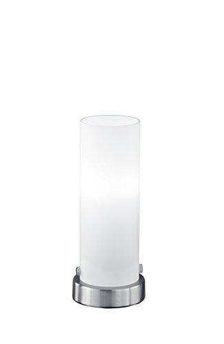 lightling Basic Tischleuchte Steffi LED-Touch Zylinder in nickel matt, Glas weiß matt, 1 x E14 4 Watt LED Leuchtmittel inklusive, ø 8.5 cm, Höhe 21 cm