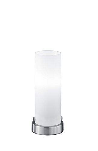 Preisvergleich Produktbild lightling Basic Tischleuchte Steffi LED-Touch Zylinder in nickel matt,  Glas weiß matt,  1 x E14 4 Watt LED Leuchtmittel inklusive,  ø 8.5 cm,  Höhe 21 cm